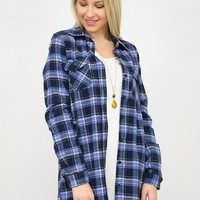 Blue Flannel Tunic Top
