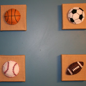 Burlap and Felt Sports Art