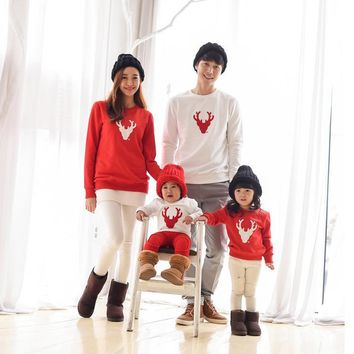Christmas Family Look Deer Mommy and Me Clothes Matching Family Clothing Mother Daughter Mom Son Father Baby T-shirt red white
