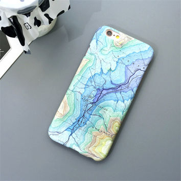 Map Slim Matte Hard Plastic Phone Back Cover Case For iPhone 5 5s SE 6 6s 6 Plus 6s Plus