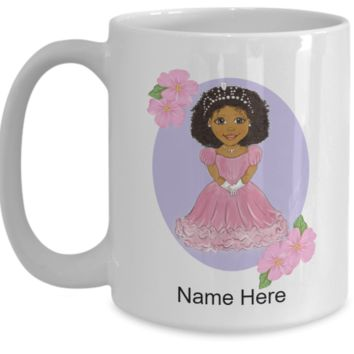 African American Princess Dahlia Personalized Mug Cup Birthday Gift, Party Favor