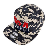 ZLYC Women US Flag Design 4th of July Flatbill Adjust Casual Baseball Hat (Camo)