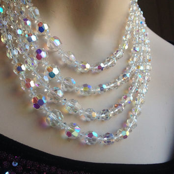 Spectacular Vintage Aurora Borealis Crystal Bead Set Coro Necklace, Earrings, Bracelet Signed
