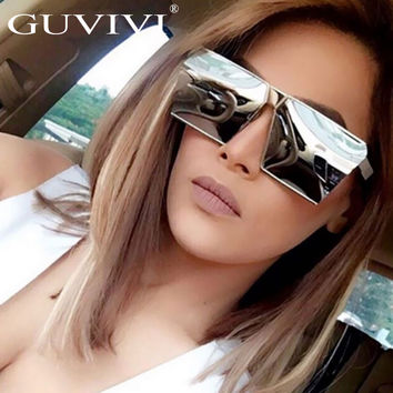 Fashion Color Women Sunglasses Unique Oversize Shield UV400 Gradient Vintage eyeglasses frame for Women Sunglass Flat sunglasses