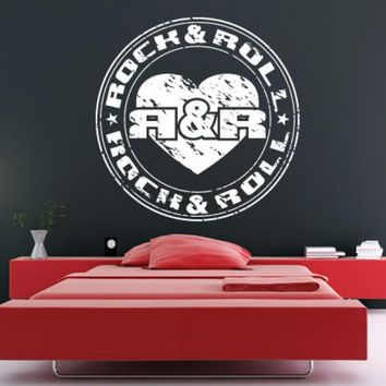 Wall Decal Decal Sticker Bedroom Decals Rock and Roll Emblem Symbol Music Circle z642