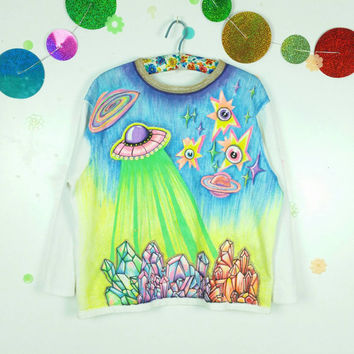 Hand Painted Sweatshirt Neon Crystal Galaxy UFO Custom Clothing Cyber Futuristic Jumper