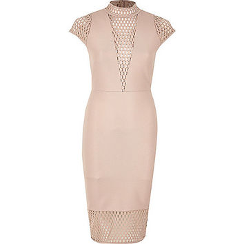 Pink mesh panel turtleneck dress