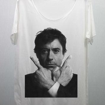 Robert Downey JR  T Shirts Tee Shirt handmade silk screen printing size M and L