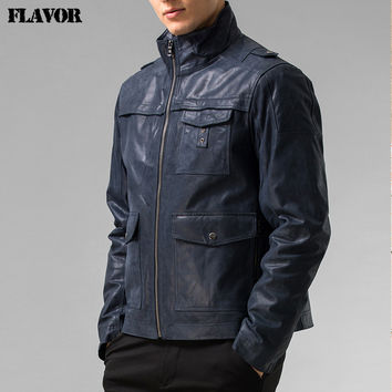 Men's Genuine Leather jacket Men Pigskin real leather jackets motorcycle leather coat biker jacket