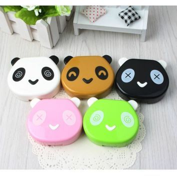 1PC Cartoon Cute Panda Travel Glasses Contact Lenses Box Contact Lens Case For Eye Care Kit Holder Container Random Candy Color