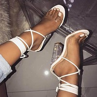Fashionable new style white see-through high-heeled sandals with chunky heels and open-toe crystal heels