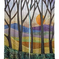 Window Curtains Unlined from DiaNoche Designs Artistic, Stylish, Unique, Decorative, Fun, Funky, Cool by Jennifer Baird - Sunset Over the Hills