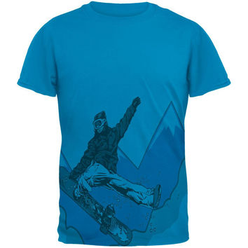 Shred The Gnar Snowboarder All Over Sapphire Blue Adult T-Shirt