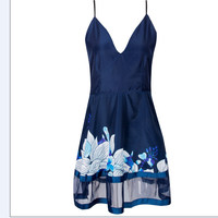 Women Plus Size Sexy Women Summer V Neck A-line Dress Casual Party Short Beach Mini Dress