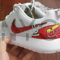 Nike Roshe Run Grey White St. Louis Cardinals Custom Men & Women