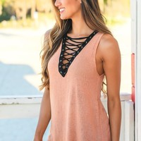 Blush Lace Up Top