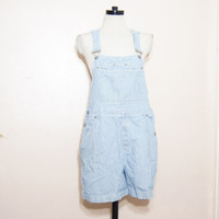 90s Blue Stripe Overalls Large Shortalls Dungarees Hipster Grunge Normcore