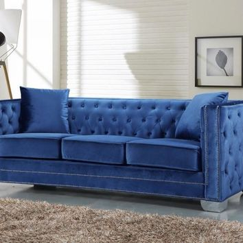 Reese Light Blue Velvet Sofa