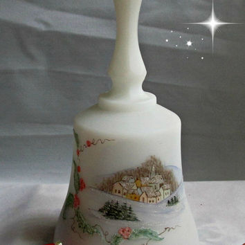 Fenton Christmas Village Scene Art Glass Sugar Coated Music Box Bell Joy to the World