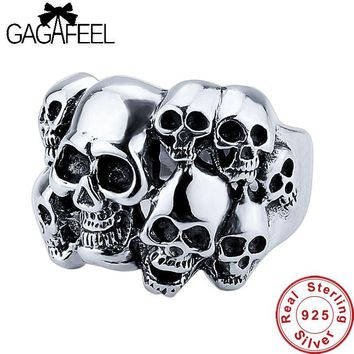 Skull 100% Pure 925 Sterling Silver Cool Men's Ring Thai Silver Fine Jewelry Men Jewelry LHYR31