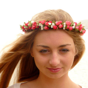 Pink  statement flower crown // floral headpiece fascinator, romantic, bold, festival, lana del rey, elegant roseς white , ivory,