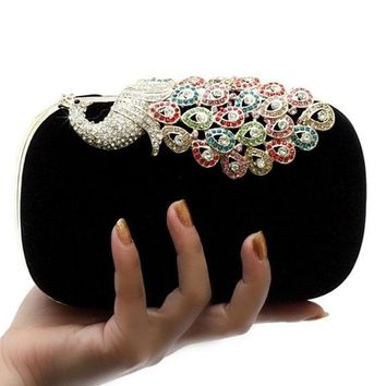 Luxury Diamonds Peacock Evening Clutch Bag Elegant Women Handbag Lady Wedding Purse Elegant Wedding Wallet