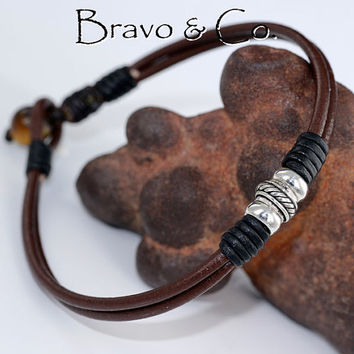 AB-002 Finely Made Sterling Silver & Leather New Surf ANKLET Men Bracelet.