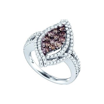 10k White Gold Womens Cognac-brown Colored Diamond Wide Cluster Cocktail Ring 1-1/2 Cttw