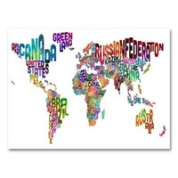 Typography World Map III Canvas Wall Art by Michael Tompsett