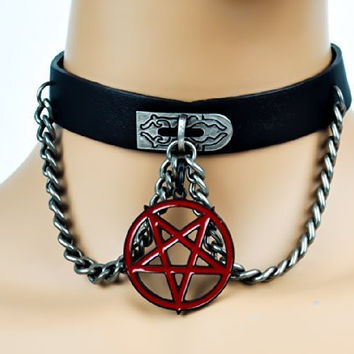 Red Pentagram on Chain Pleather Choker Gothic Collar