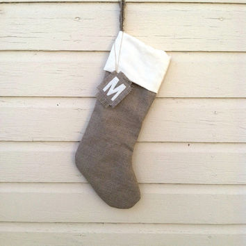 Rustic Ivory Stocking - Christmas Stocking - Linen Burlap Stocking - Personalized Stocking