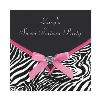 Pink Zebra Sweet 16 Birthday Party Custom Announcements from Zazzle.com