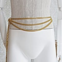 Vintage 1980s Goldtone + Chain Link Belt