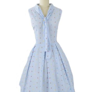 60s Embroidered Blue White Check Day Dress
