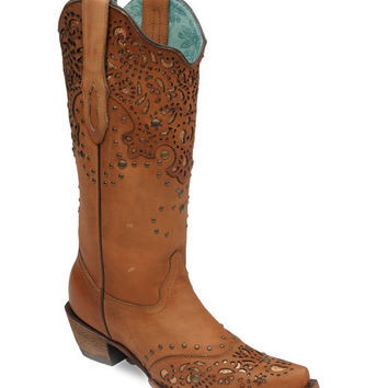 Corral Women's Honey Fango/Bronze Glitter Collar and Wing Tip Boot - C2687