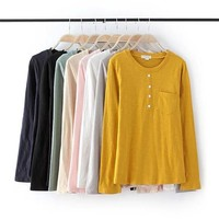 Stylish Round-neck Long Sleeve Pullover Women's Fashion Tops T-shirts [6047484737]
