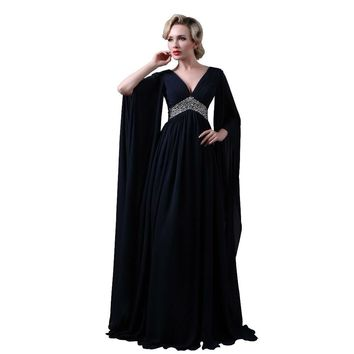 Navy Blue Chiffon Bohemia Evening Dresses 3/4 Long Sleeves Formal Dresses Beaded Prom Gown