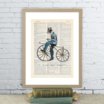 Funny dog man in bicycle. Vintage dictionary paper illustration art print.  Wall hanging decor 8X10.5
