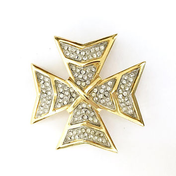 Kenneth Lane Maltese Cross Brooch/Pendant, Gold Tone Metal, Embellished Pave Set Ice Rhinestones, Dimensional, 1980s Mark, Gift for Her