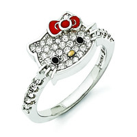 Sterling Silver Hello Kitty Crystal/Enamel Red Bow Collection Ring