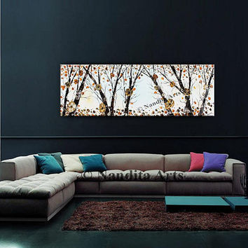 "Floral Painting Flower Tree Art Texture 54"" Large Painting Contemporary Wall Art Tree Artwork on Canvas Home Decor for Living Room - Nandita"