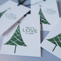 Christmas Tree Peace Joy Love Gift Tags for Presents Set of Five