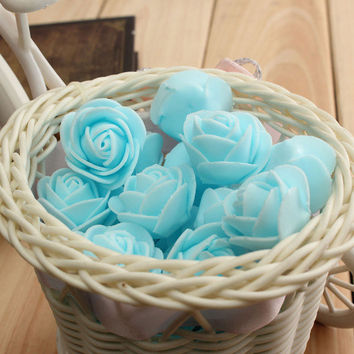 50pcs 2.5cm Artificial Roses PE Foam Rose Flower Wedding Party Home Decoration Valentine's day Fake