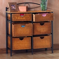 Iron & Wicker Storage Shelf (Brown/Black)