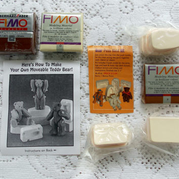 Teddy Bear Push Mold Kit - Moveable Arms and Legs - Polymer Clay and Molds