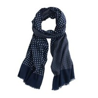 Dotted wool-silk scarf - Hats, Gloves and Scarves - Men's accessories - J.Crew