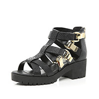 Black chunky strap cleated sole sandals