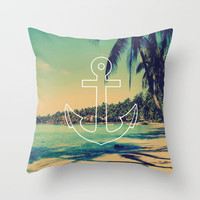Vintage Summer Anchor Throw Pillow by RexLambo | Society6