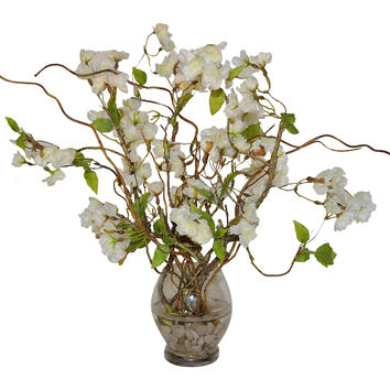 "22"" Cherry Blossoms & Curly Willow, Faux, Arrangements"
