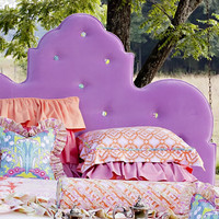 Ada Queen Scalloped Tufted Velvet Headboard in Purple